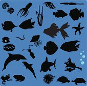 Silhouette of Sea Life (Set#1) - seamless background