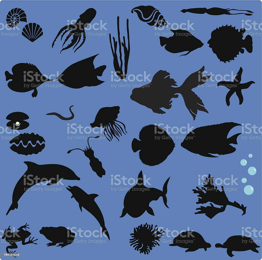 Silhouette of Sea Life (Set#1) - seamless background vector art illustration