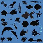 Silhouette of Sea Life (Set#1) - seamless background