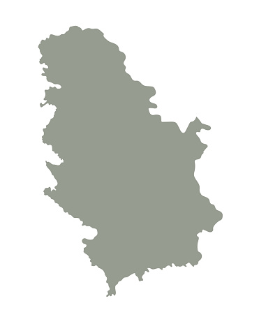 Silhouette of Serbia country map. Highly detailed editable gray map