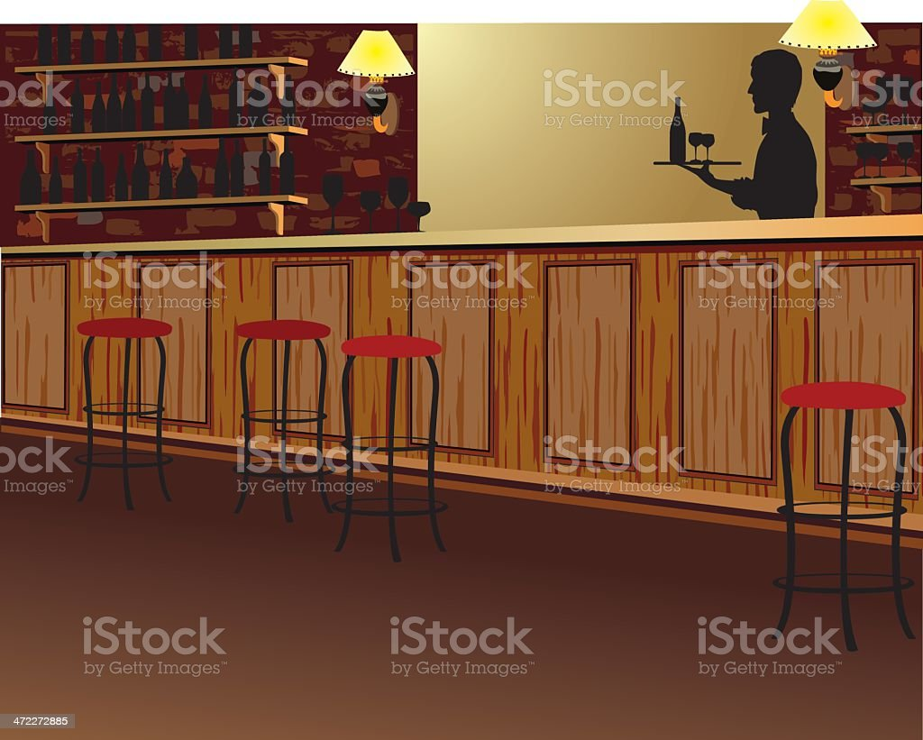 Silhouette of Server Carrying Tray Behind Empty Bar royalty-free stock vector art