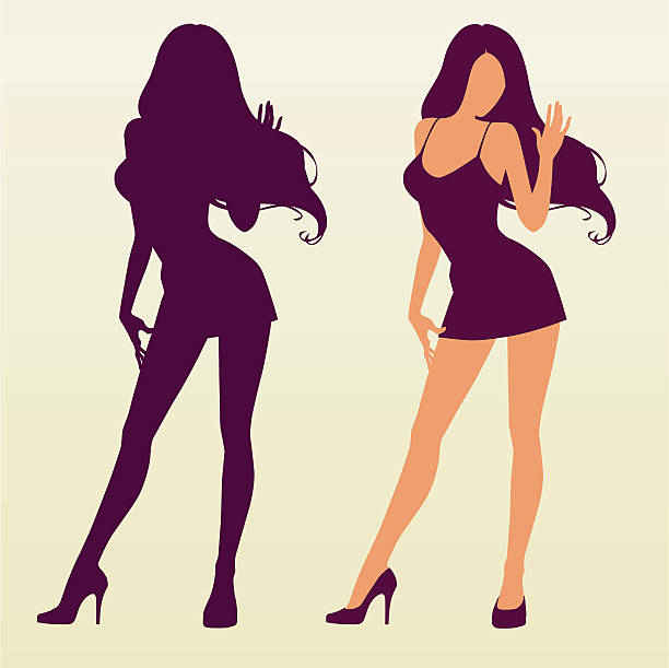 Silhouette of Sexy Girl  sensuality stock illustrations
