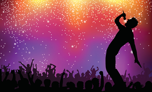 Silhouette of singer and crowd on rock concert illustration