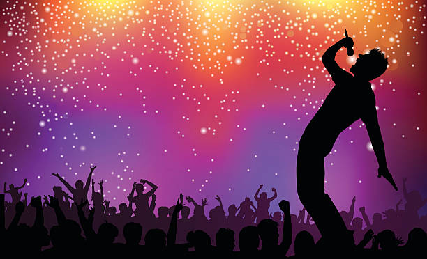 Silhouette of singer and crowd on rock concert illustration Singer performing in front of cheering fans and sparkling lights. This file is layered and grouped, ready for editing. Files included – jpg, ai (version 8 and CS3), svg, and eps (version 8) singer stock illustrations