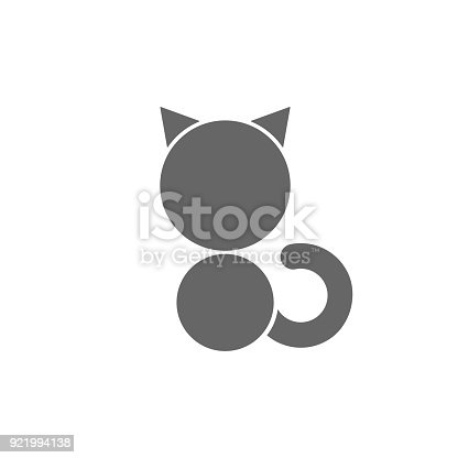 Silhouette Of Sitting Black Cat On White Background Veterinary