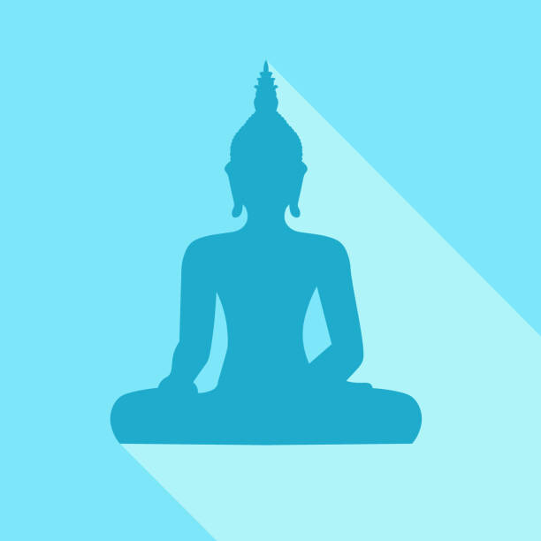 Silhouette of sitting Buddha with sjhadow on blue background vector art illustration