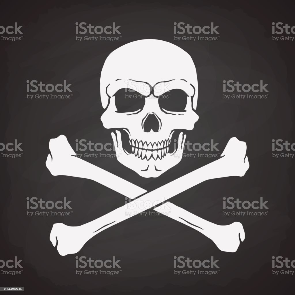 Silhouette Of Skull Jolly Roger With Crossbones At The Bottom Stock