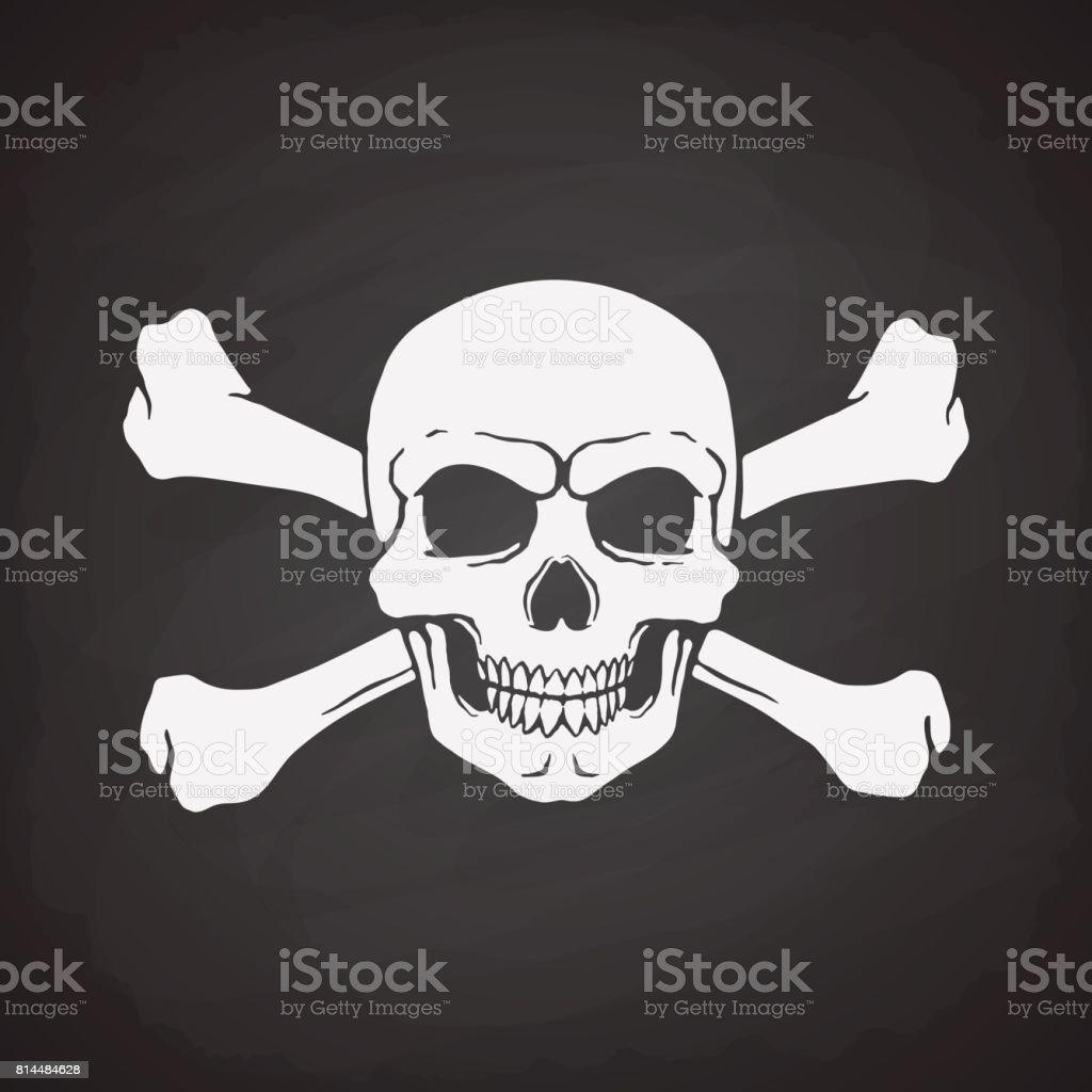 Silhouette Der Piratenflagge Totenkopf Mit Gekreuzten Knochen Hinter ...