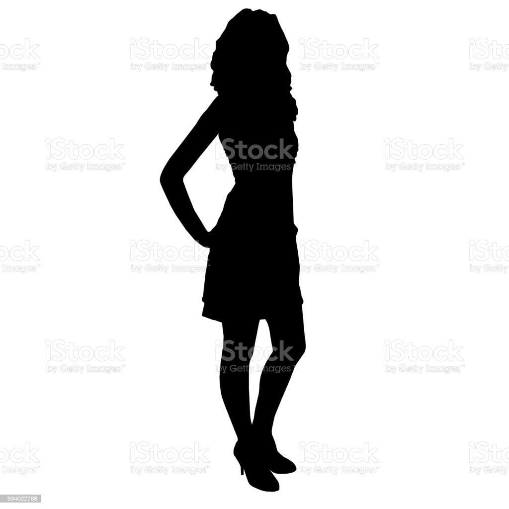 7fa7e32ba73 Silhouette de femme belle mince (fille) avec longues jambes vêtue de la robe  de