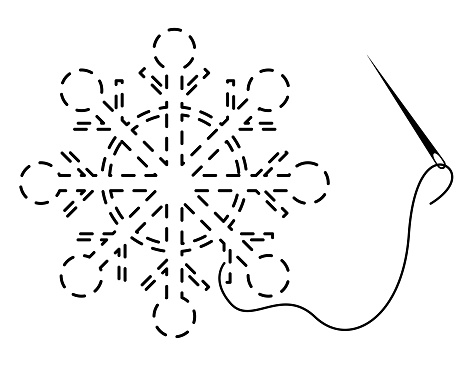 Silhouette of snowflake with interrupted contour. Vector illustration of handmade work with embroidery thread and needle