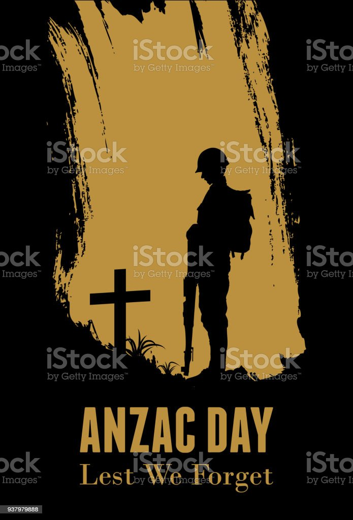 Silhouette of soldier fighting at war, Anzac Day Banner, Vector Illustration vector art illustration