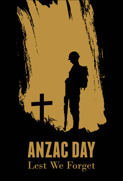 silhouette of soldier fighting at war, anzac day banner, vector illustration - army soldier stock illustrations, clip art, cartoons, & icons