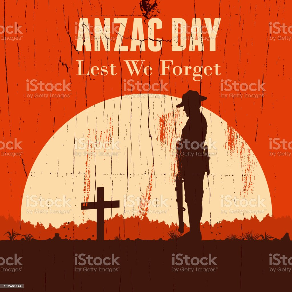 Silhouette of soldier paying respect at the grave, vector vector art illustration
