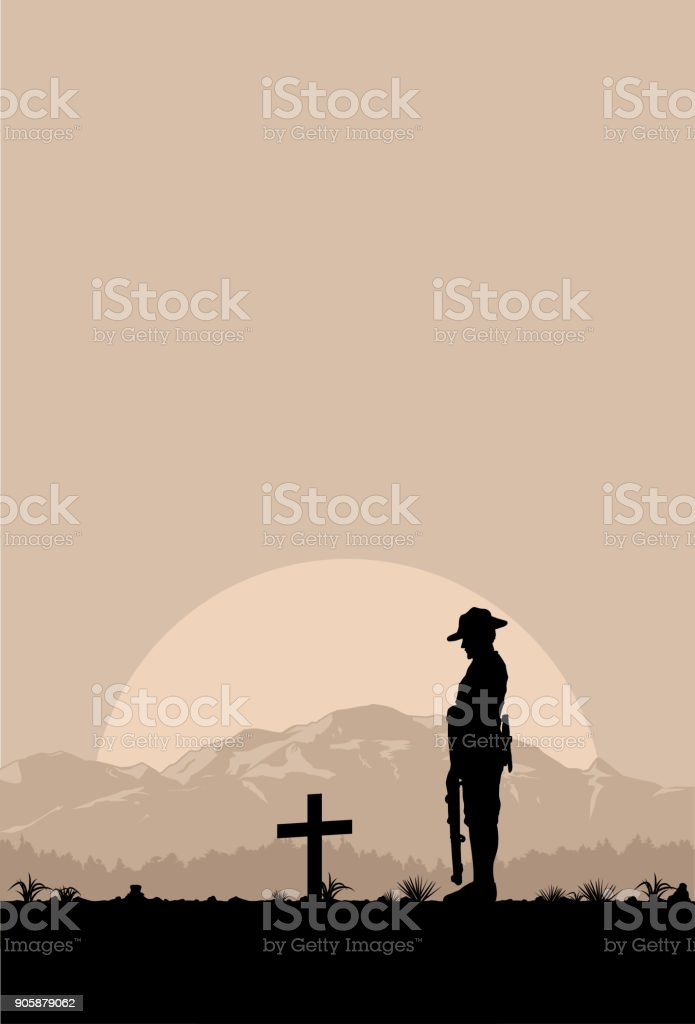 Silhouette of soldier paying tribute at a grave on Anzac day, vector vector art illustration