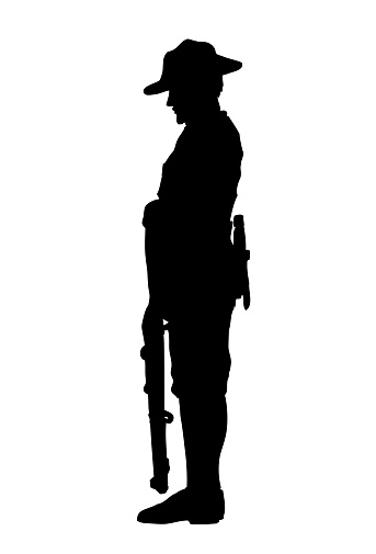 Silhouette of soldier paying tribute, Vector