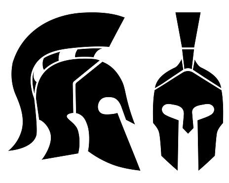 Silhouette of Spartan helmets