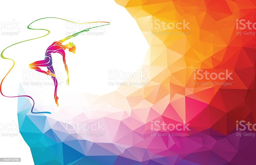 Silhouette of spectrum color gymnastic girl with ribbon vector art illustration