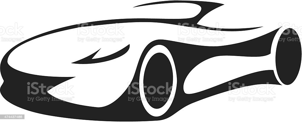 Silhouette of sports car vector art illustration