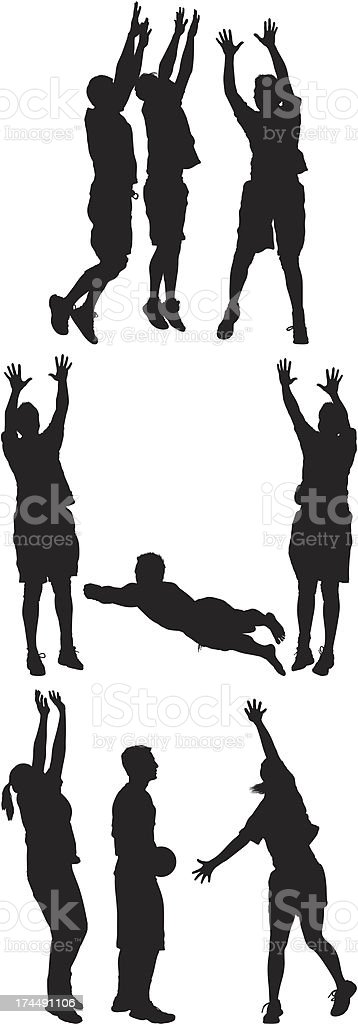 Silhouette of sports people playing volleyball royalty-free stock vector art