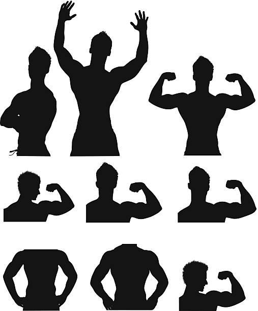 ilustrações de stock, clip art, desenhos animados e ícones de silhueta de desporto pessoas - tronco nu