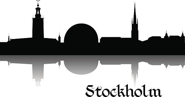 bildbanksillustrationer, clip art samt tecknat material och ikoner med silhouette of stockholm - skyline stockholm