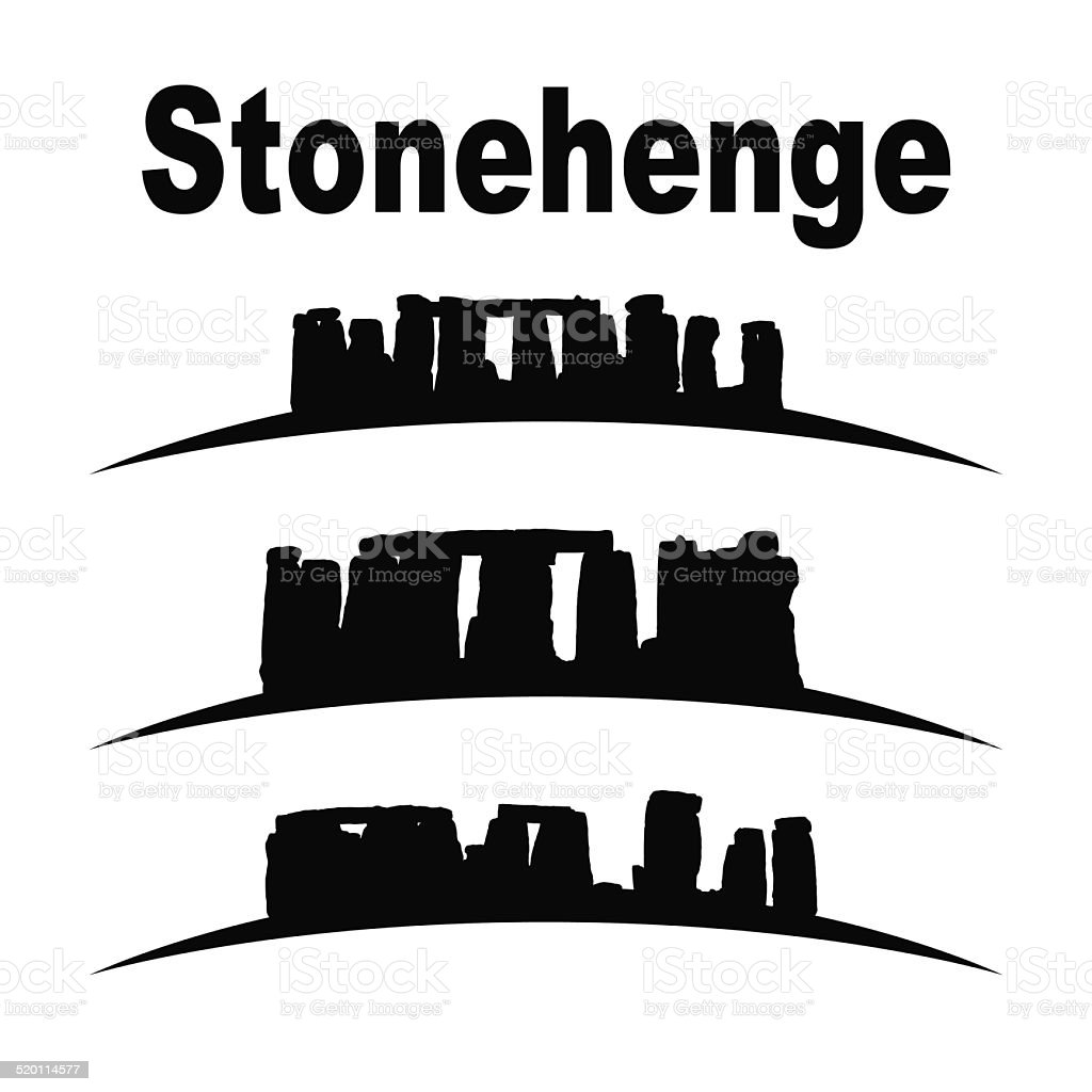silhouette of stonehenge vector art illustration