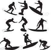 Silhouette of surfers in actionhttp://www.twodozendesign.info/i/1.png