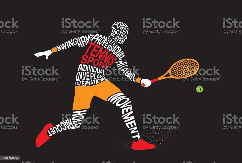 Silhouette of tennis player from text concept on black. vector art illustration