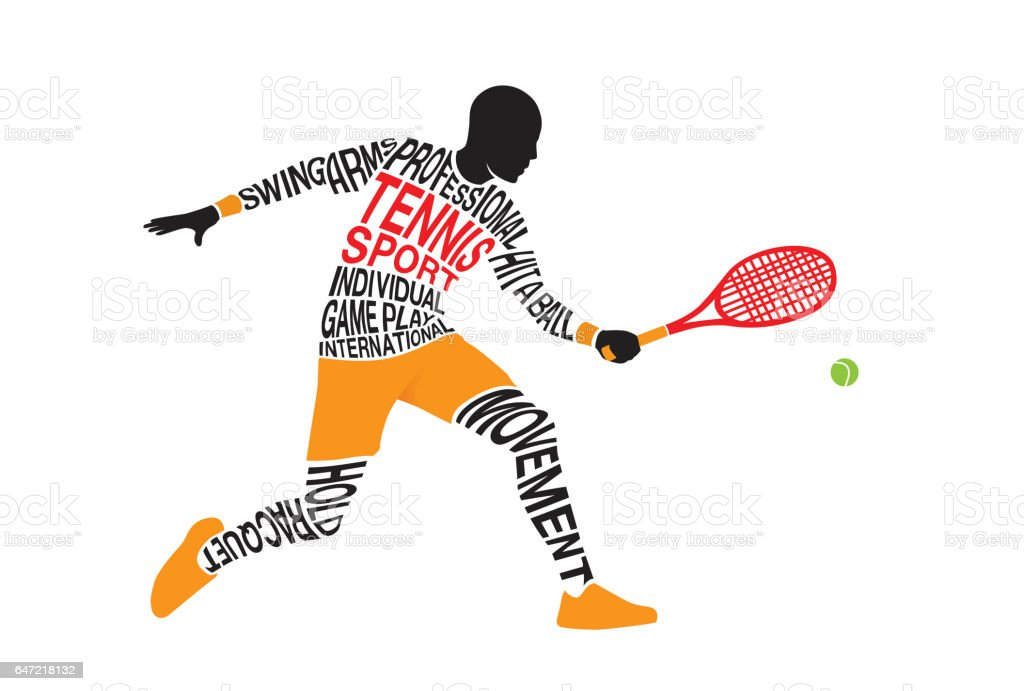 Silhouette of tennis player from text concept. vector art illustration
