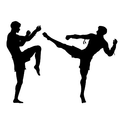 Silhouette of Thai boxing, Vector