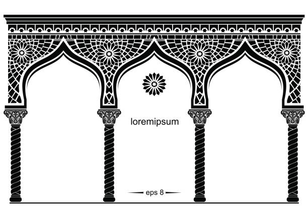 Silhouette of the arched eastern facade vector art illustration