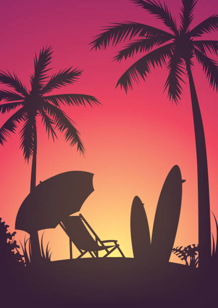 Silhouette of the beach, a resting place on the beach during sunset Silhouette with beach, chaise longue, palm trees, surfboards and beach umbrella, sunset or sunrise, rest on the beach or ocean outdoor chair stock illustrations