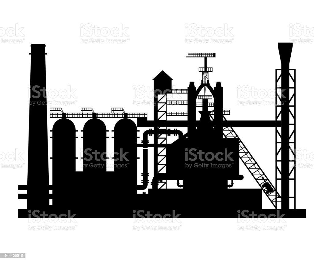 Silhouette of the blast furnace vector art illustration