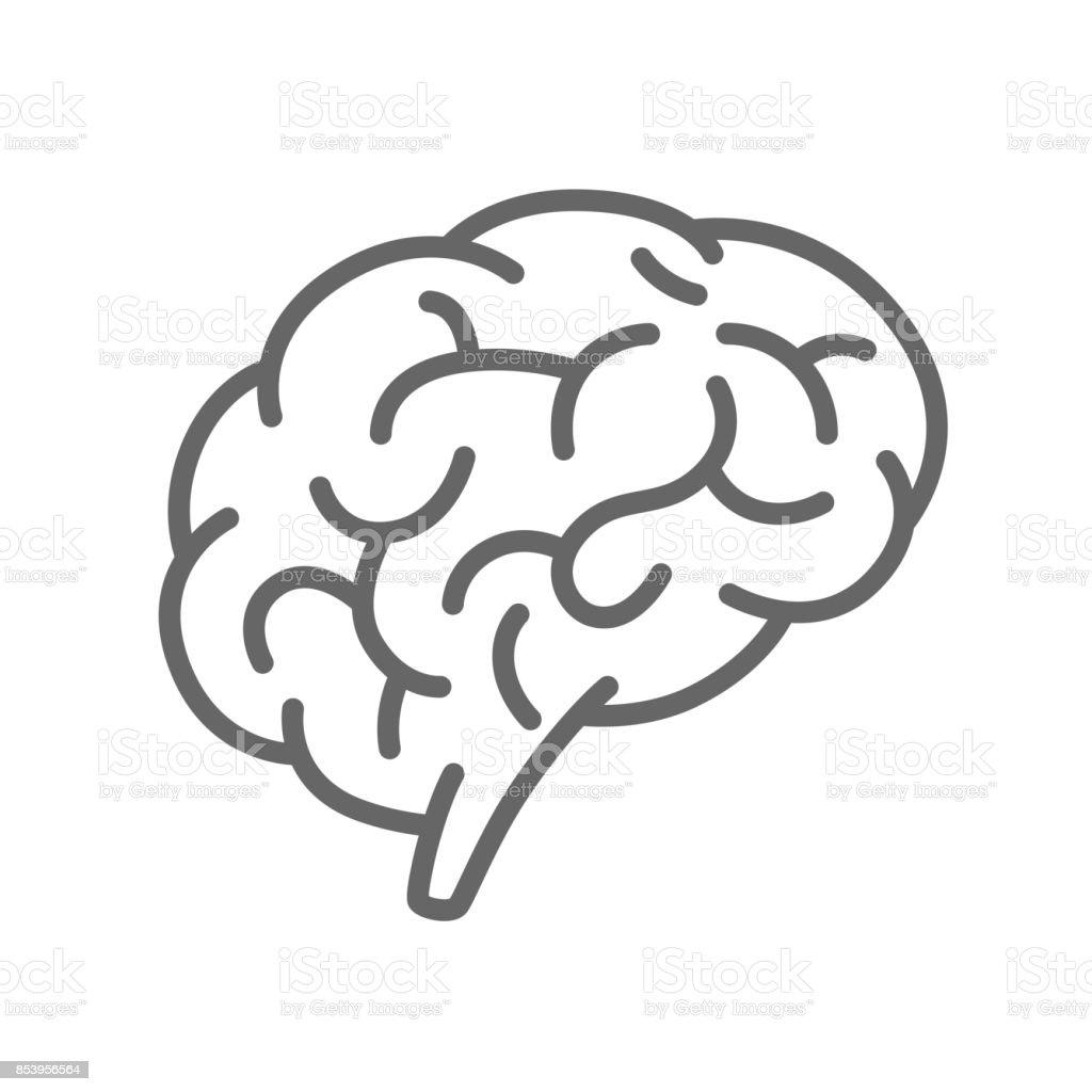 Silhouette of the brain on a white background - illustrazione arte vettoriale