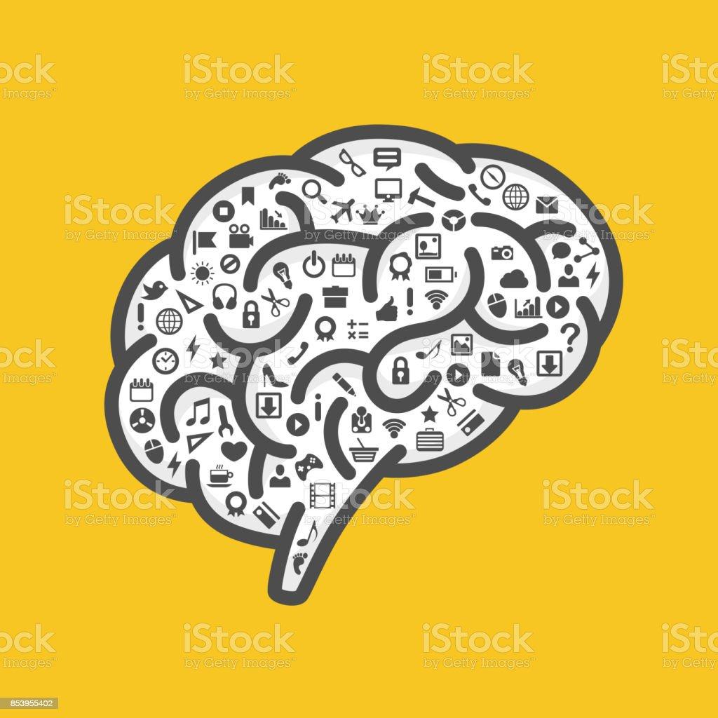 Silhueta do cérebro com ícones - ilustração de arte em vetor