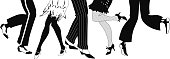 Line of men and women legs in 1920s style footwear dancing the Charleston, black vector silhouette, no white objects, EPS 8