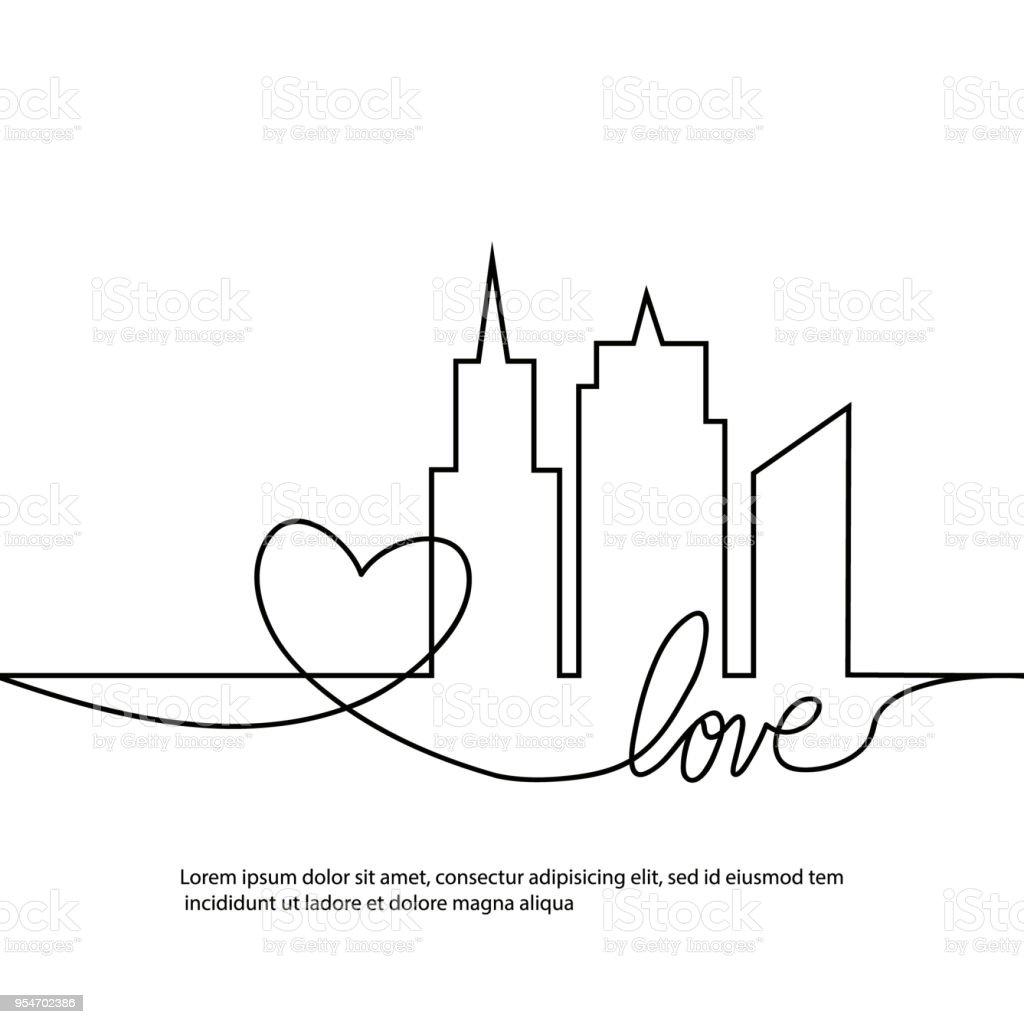 Silhouette Der Stadt Und Herz Und Liebe In Kontinuierlichen Zeichnen