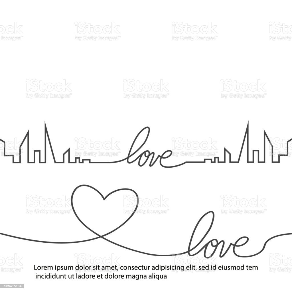 Silhouette of the city and heart and love in continuous drawing lines in a flat style. Modern urban landscape. Vector illustrations. City skyscrapers building office horizon.Continuous line drawing - Grafika wektorowa royalty-free (Abstrakcja)