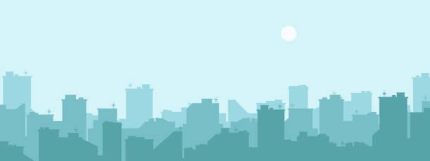 ilustraciones, imágenes clip art, dibujos animados e iconos de stock de silueta de la ciudad. fondo de paisaje urbano. textura azul simple. paisaje urbano. bandera o de plantilla. ciudad moderna con capas. ilustración de vector de estilo plano. - ciudad