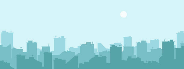 Silhouette of the city. Cityscape background. Simple blue texture. Urban landscape. For banner or template. Modern city with layers. Flat style vector illustration. Silhouette of the city. Cityscape background. Simple blue texture. Urban landscape. For banner or template. Modern city with layers. Flat style vector illustration. town stock illustrations