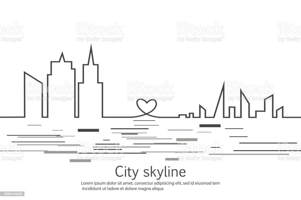 Ilustración de Silueta De La Ciudad En Un Estilo Plano Paisaje ...