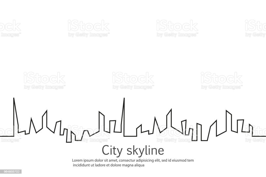 Silhouette of the city in a flat style. Modern urban landscape. Vector illustrations. City skyscrapers building office horizon.Continuous line drawing royalty-free silhouette of the city in a flat style modern urban landscape vector illustrations city skyscrapers building office horizoncontinuous line drawing stock vector art & more images of abstract