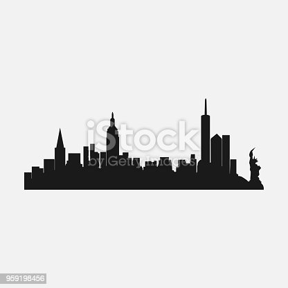silhouette of the city of New york, the famous city of america, vector design template