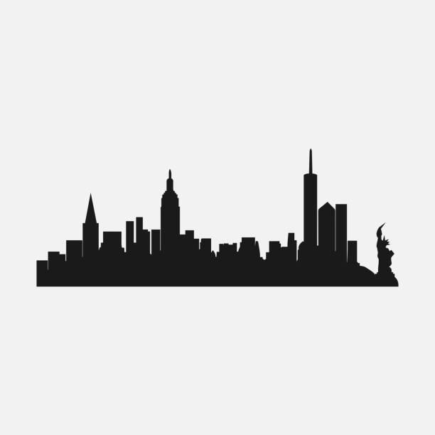 illustrations, cliparts, dessins animés et icônes de silhouette de la ville de new york, la ville célèbre de l'amérique - new york