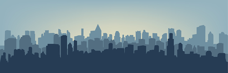 Silhouette of the city clipart