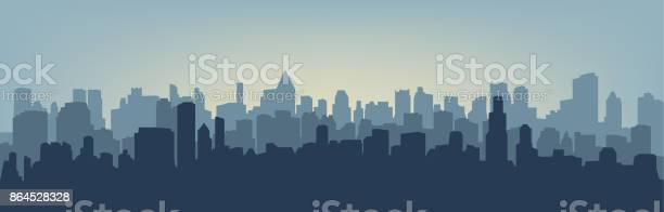 Silhouette Of The City - Arte vetorial de stock e mais imagens de Acender