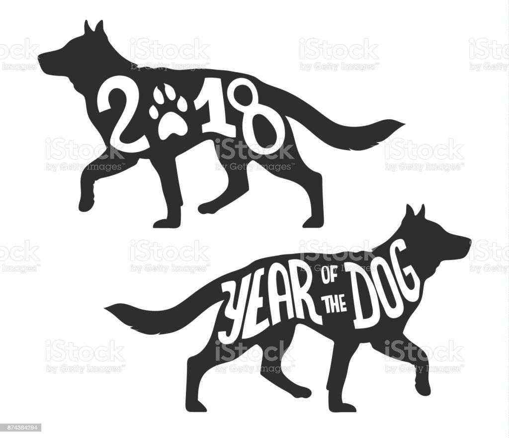 Silhouette of the Dog Walking, vector illustration vector art illustration