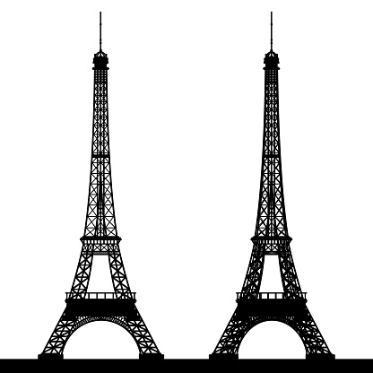 Silhouette of the Eiffel Tower.