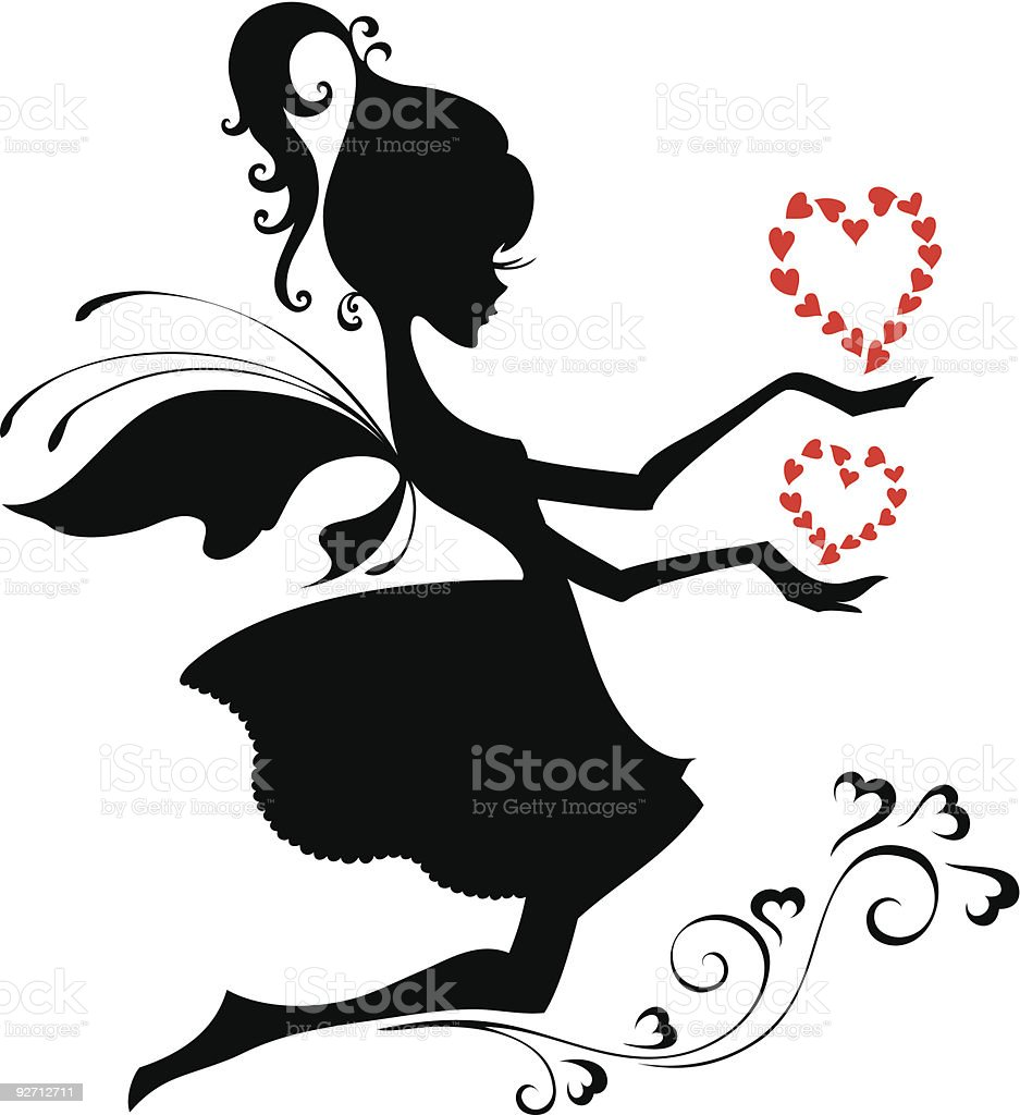 Silhouette of the fairy royalty-free stock vector art