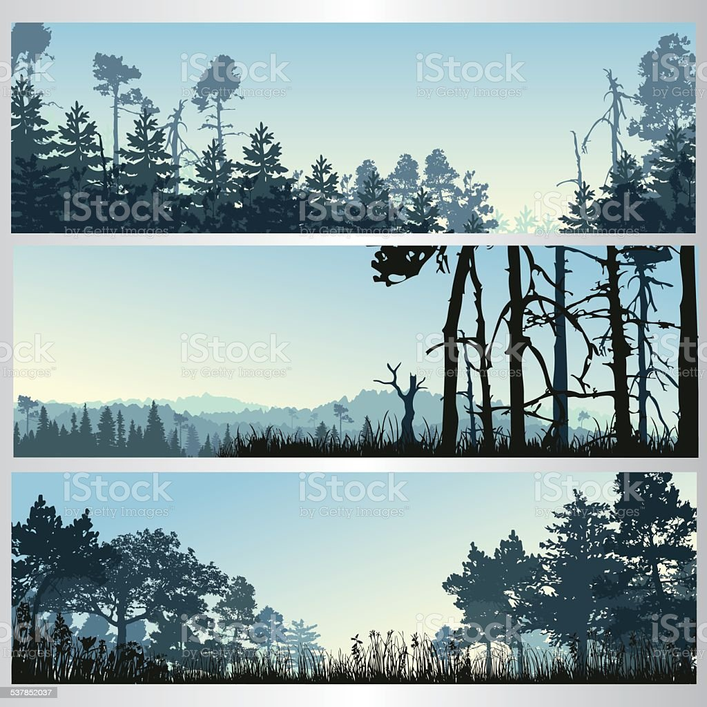 Silhouette of the forest vector art illustration